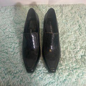 Franco Sarto Black Print Loafers Heels SZ 6.5
